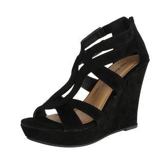 Top Moda Womens Lindy-66 Open Toe Platform Wedge Sandals