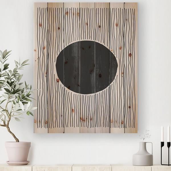 Designart 'Minimal Geometric Lines And Circle III' Modern Print on Natural Pine Wood. Opens flyout.