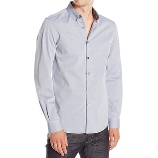 Kenneth Cole Reaction NEW Blue Mens Size XL Stripe Button Down Shirt