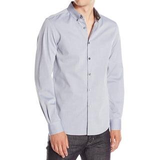 Kenneth Cole Reaction NEW Blue Mens Size XL Stripe Button Down Shirt