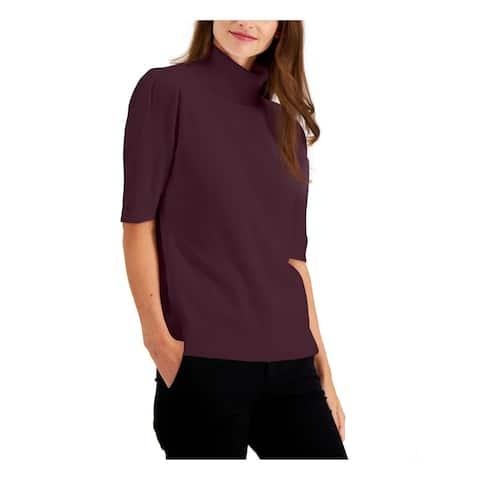ALFANI Womens Purple 3/4 Sleeve Turtle Neck Evening Sweater Size S