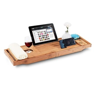 Shop Gymax Bamboo Bathtub Caddy Tray Extendable Sides W