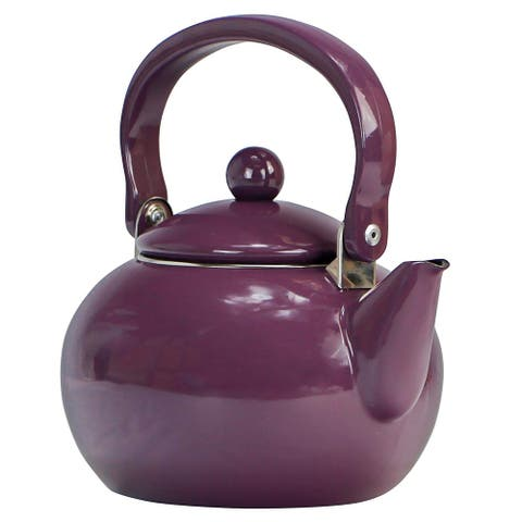Calypso Basics by Reston Lloyd Enamel-on-Steel Tea Kettle, 2-Quart, Plum