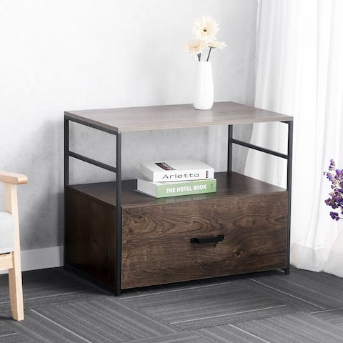 Lateral File Cabinet with 1 Open Compartment&1 Drawer, Rustic Brown