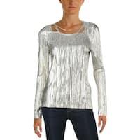 T Tahari Womens Briella Blouse Metallic Embellished