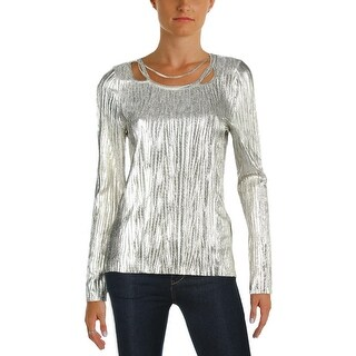 T Tahari Womens Briella Blouse Metallic Embellished