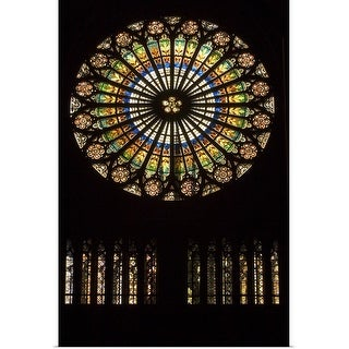 """Rose window at Notre Dame Cathedral, Strasbourg, Alsace, France"" Poster Print"