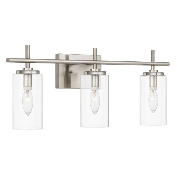 """Raleigh 3-Light Brushed Nickel Finish Vanity Light 6"""" x24""""x 9.63"""" - Standard Size. Opens flyout."""