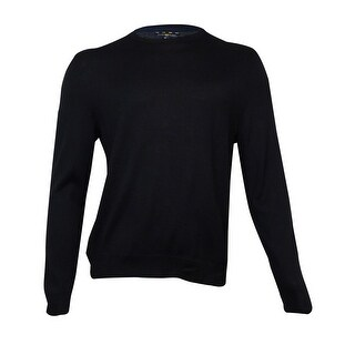 Club Room Men's Solid Merino-Blend Sweater (Deep Black, M) - M