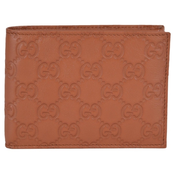Gucci 278596 Men's Saffron Tan Leather GG Guccissima Bifold Wallet