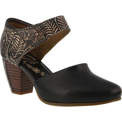 L'Artiste by Spring Step Women's Toolie Heeled Mary Jane Black Leather
