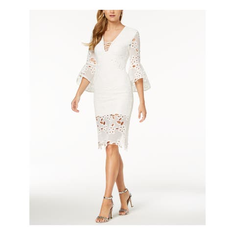 BARDOT White Bell Sleeve Above The Knee Dress 6