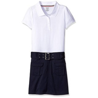 French Toast Girls 4-14 Belted Polo Dress - White