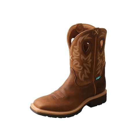 """Twisted X Work Boots Mens WS Toe 11"""" Shaft Pull On Brown"""