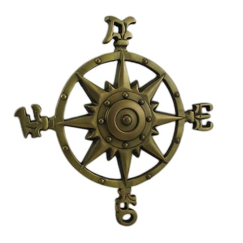 Antique Brass Finish Compass Rose Indoor/Outdoor Wall Hanging - 11.5 X 11.5 X 1 inches