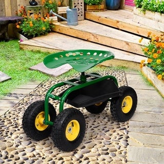 Link to Red/Green Garden Cart Rolling Work Seat With Heavy Duty Tool Tray Gardening Planting-Green - Green Similar Items in Yard Care