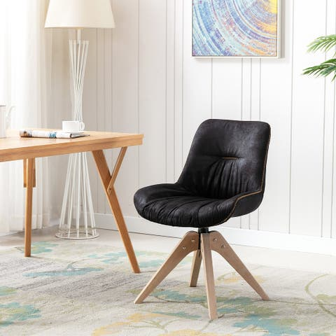 Armless Swivel Accent Chair with Oak Wood Legs