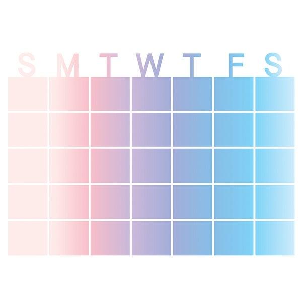 "Brewster WPE2798 WallPops Serenity 17-1/2"" x 24"" Dry Erase Vinyl Monthly Wall Calendar - Pastel"