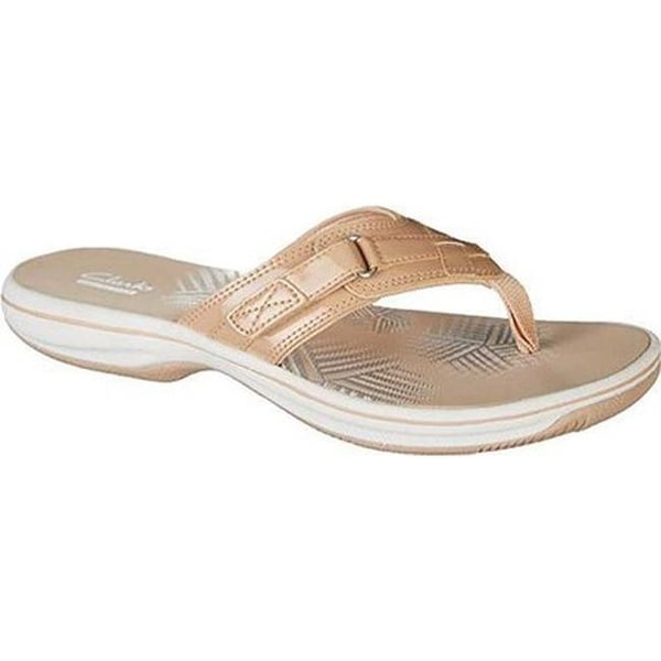 c7eec12ddab3 Shop Clarks Women s Breeze Sea Flip Flop Nude Synthetic Patent - On ...