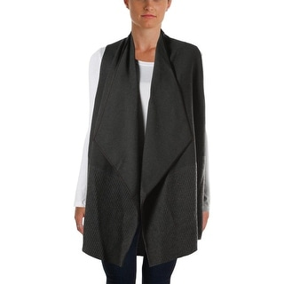 Lafayette 148 Womens Wool Trim Cascade Collar Vest