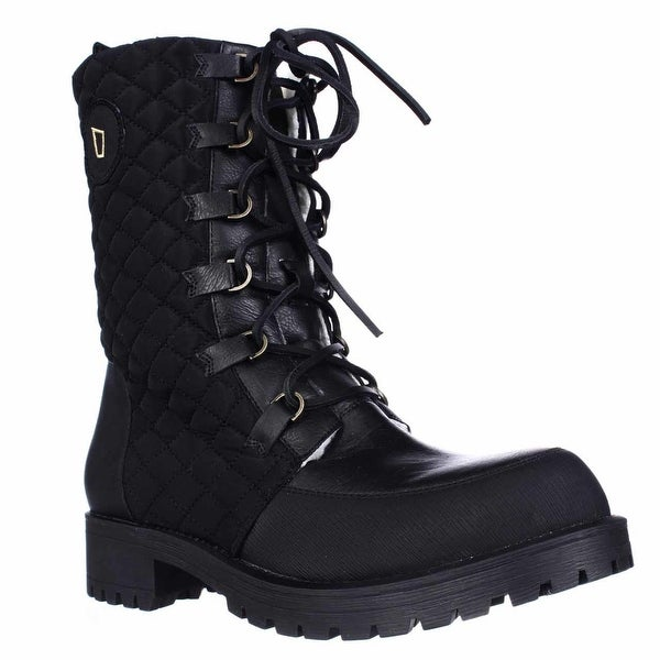 Matt Bernson Ketchum Quilted Lace Up Shearling Lined Boots, Black Quilted