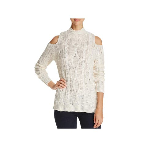 Alison Andrews Womens Pullover Sweater Knit Cold Shoulder - Natural - M