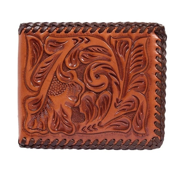 3D Western Wallet Mens Leather Bifold Laced Natural - One size
