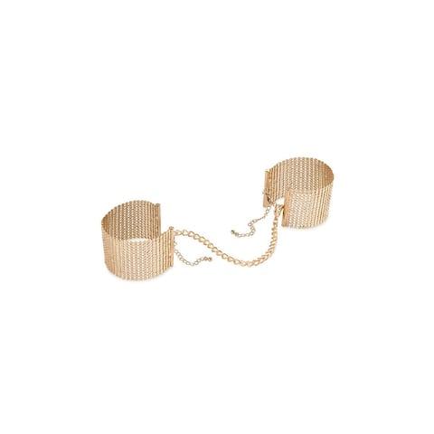 Desire Metallique Gold Handcuffs, Gold Mesh Handcuffs - One Size Fits Most