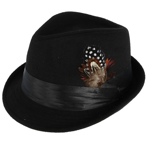 1308935b9b3 Shop Kenny K Men s Dressy Faux Felt Fedora with Removable Feather ...
