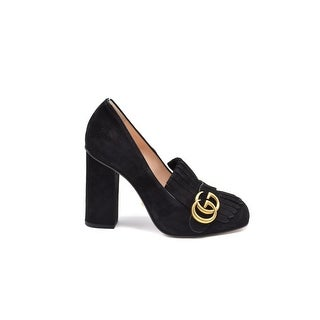 Gucci Womens Black Marmont Fringed Suede Pumps Size 37.5 / 7.5