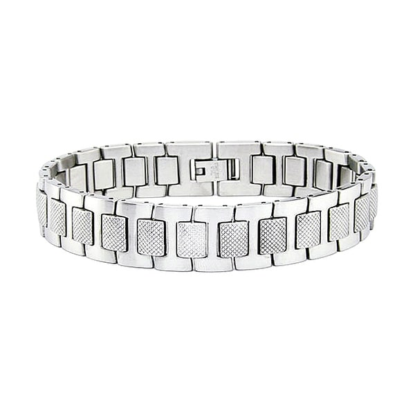 Stainless Steel Men's Bracelet with Gun Grip Texture (14mm Wide) 8 Inches