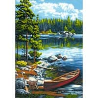 "Canoe By The Lake - Paint Works Paint By Number Kit 14""X20"""