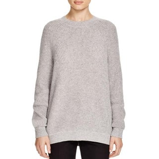 Vince Womens Cashmere Directional Rib CR Mock Turtleneck Sweater Pullover Wool