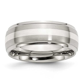Stainless Steel Sterling Silver Inlay Ridged Edge 8mm Brushed and Polished