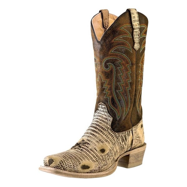 Outlaw Western Boots Mens Lizard Print Square Oryx Worn Saddle