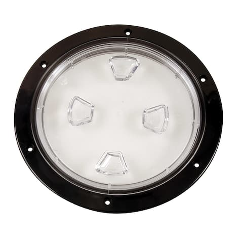 Beckson Marine 46435M BECKSON 8 CLEAR CENTER SCREW OUT DECK PLATE BLACK 8.5 CUT - Multicolor