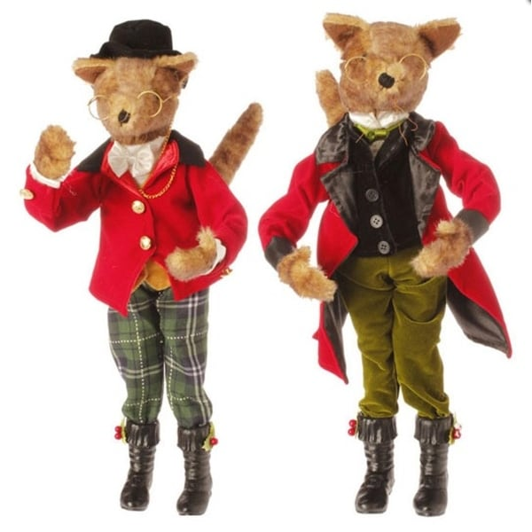 """19"""" Holiday Elegance Poseable Brown Fox with Green Pants Table Top Christmas Figure"""