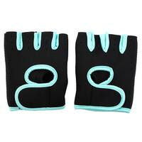 Sports Workout Adjustable Fitness Palm Support Half Finger Gloves Turquoise Pair