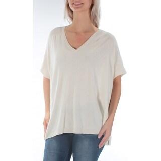 Womens Ivory Short Sleeve V Neck Sweater Size S