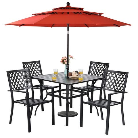 PHIVILLA 6-Piece Patio Dining Set with 10ft 3 Tier Auto-tilt Umbrella: 4 Metal Outdoor Chairs 1 Metal Square Dining Table