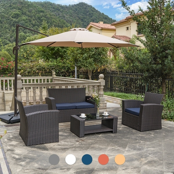 Grandview Outdoor 4-piece Patio Conversation Set with Cushions. Opens flyout.