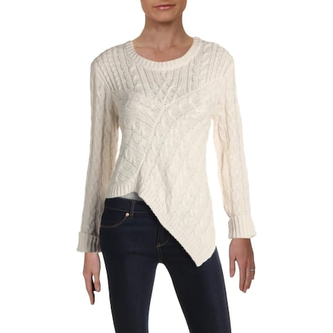 Aqua Womens Pullover Sweater Cable Knit Asymmetric - Ivory - S