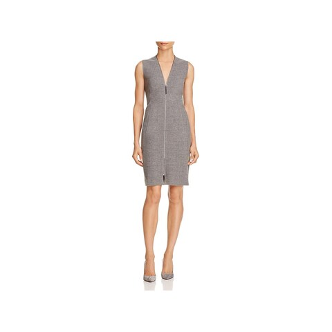 T Tahari Womens Madeline Casual Dress Zip-Up Sheath