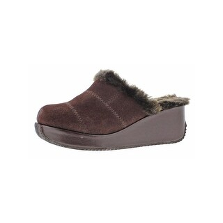 Volatile Womens Impressive Clogs Faux Fur Wedge