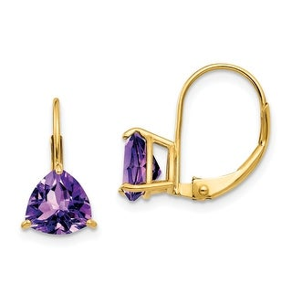 Link to 14K Yellow Gold 7mm Trillion Amethyst Leverback Earrings by Versil Similar Items in Earrings