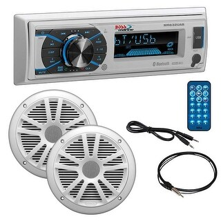 """Boss Marine Single Din Media Receiver with Bluetooth Pair 6.5"""" speakers antenna Aux"""