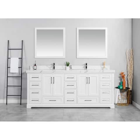 Willow Collection 84 in W x 22 in D x 36 in H Boston Double Bowl Sink Bathroom Vanity with Countertop