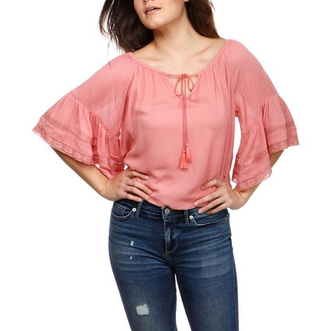 Lucky Brand Womens Peasant Top Textured Bell Sleeves