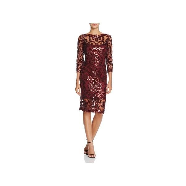 Tadashi Shoji Womens Evening Dress Sequined Mesh