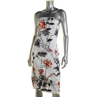 State of Being Womens Hummingbird Strapless Printed Casual Dress